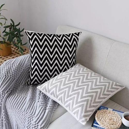two zig zag cushion covers